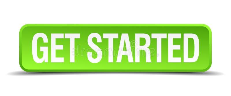 πάρτε το αρχισμένο πράσινο απομονωμένο τετράγωνο κουμπί ελεύθερη απεικόνιση δικαιώματος