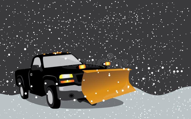 Πάρτε το φορτηγό με το άροτρο στη θύελλα χιονιού απεικόνιση αποθεμάτων