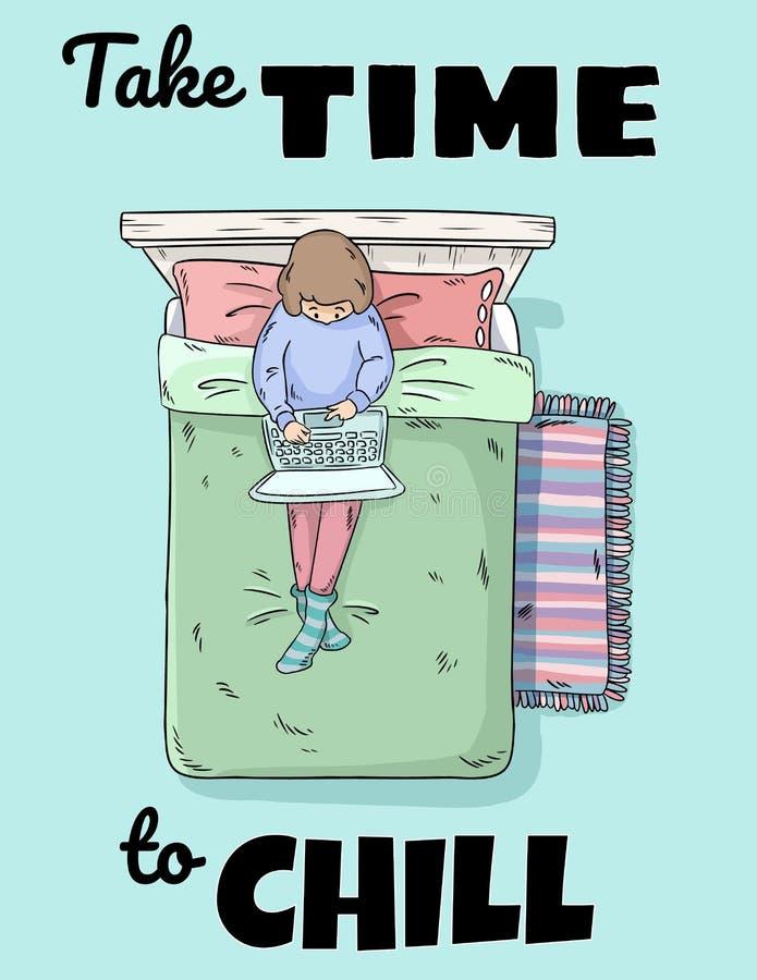 Πάρτε το χρόνο να καταψύξει Ένωση κοριτσιών έξω στο σπίτι με το lap-top στο κρεβάτι Τέλειο σχέδιο για τις ευχετήριες κάρτες, αφίσ απεικόνιση αποθεμάτων