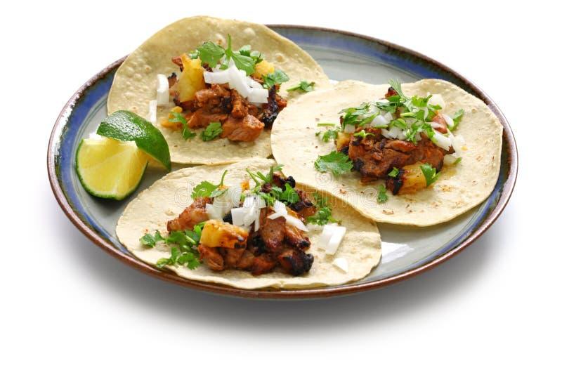 Πάστορας Al Tacos, μεξικάνικα τρόφιμα στοκ εικόνα