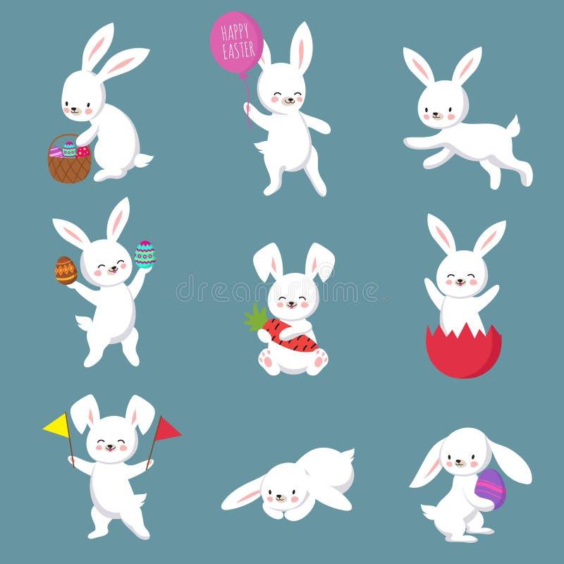Πάσχας χαριτωμένο ευτυχές λαγουδάκι σύνολο χαρακτήρων κουνελιών διανυσματικό διανυσματική απεικόνιση