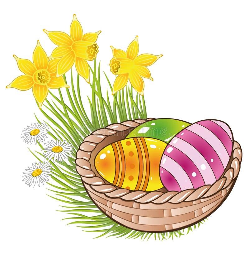 Πάσχα, αυγά, καλάθι Στοκ Εικόνες