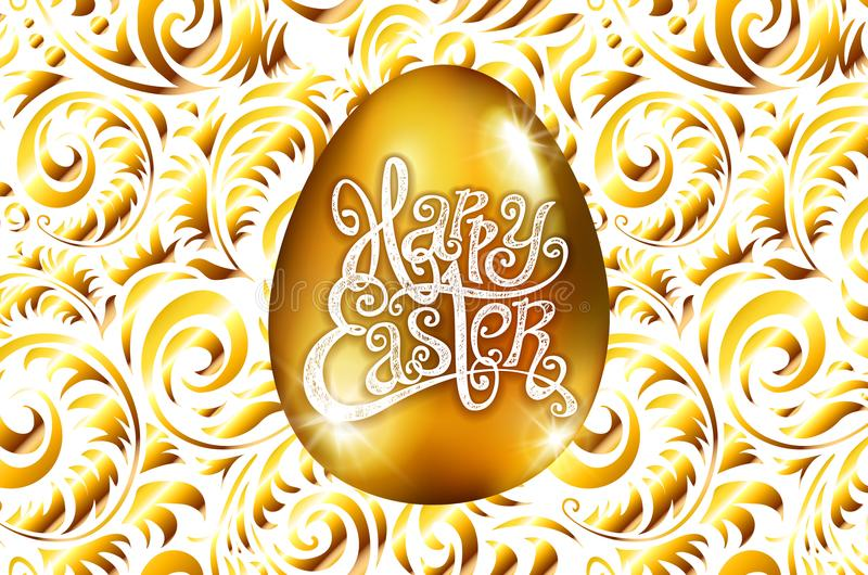 Πάσχα ευτυχές Εγγραφή καλλιγραφίας Όμορφη ευχετήρια κάρτα χρυσό αυγό με την αφηρημένη χρυσή διακόσμηση διάνυσμα Άσπρο backround διανυσματική απεικόνιση