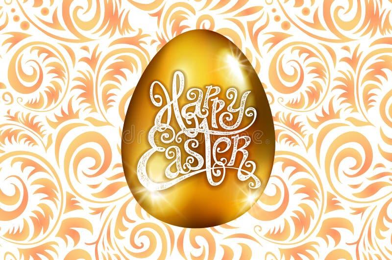 Πάσχα ευτυχές Εγγραφή καλλιγραφίας Όμορφη ευχετήρια κάρτα χρυσό αυγό με την αφηρημένη πορτοκαλιά διακόσμηση διάνυσμα άσπρο backro ελεύθερη απεικόνιση δικαιώματος