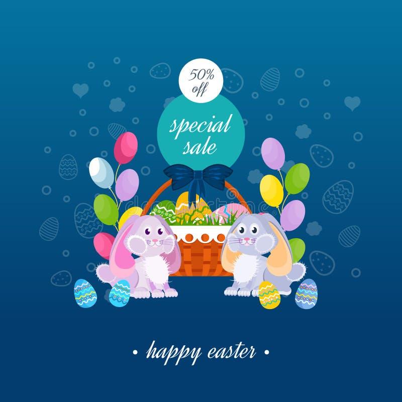Πάσχα ευτυχές Ειδική πώληση, ευχετήρια κάρτα Δύο καλά εορταστικά κουνέλια διανυσματική απεικόνιση