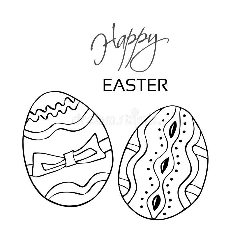 Πάσχα ευτυχές Μαύρα αυγά γραμμών, χέρι που επισύρεται την προσοχή στο άσπρο υπόβαθρο Διακοσμητικές λωρίδες, σημεία και κορδέλλα Ε απεικόνιση αποθεμάτων