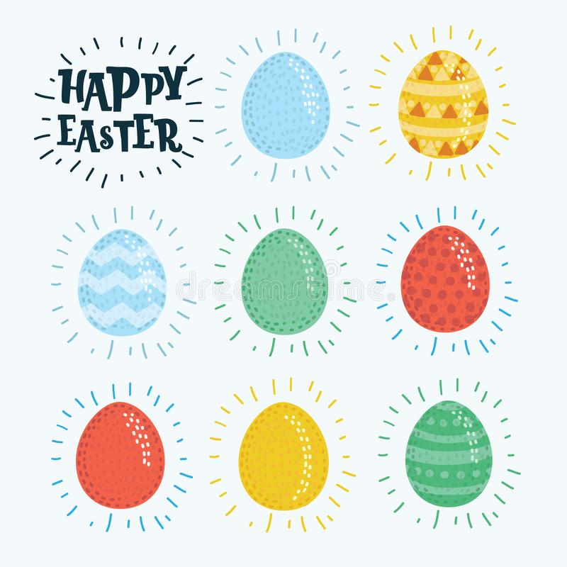 Πάσχα ευτυχές Σύνολο αυγών Πάσχας με τη διαφορετική σύσταση σε ένα άσπρο υπόβαθρο Διακοπές άνοιξη απεικόνιση αποθεμάτων
