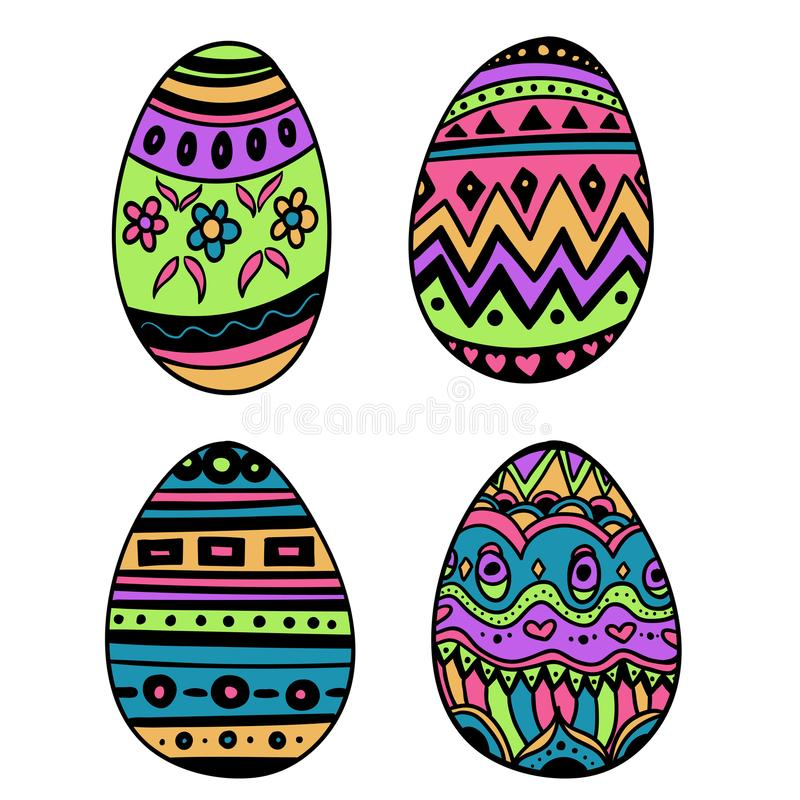 Πάσχα ευτυχές Σύνολο διακοσμητικών αυγών με τη διαφορετική σύσταση σε ένα άσπρο υπόβαθρο Διακοπές άνοιξη επίσης corel σύρετε το δ ελεύθερη απεικόνιση δικαιώματος
