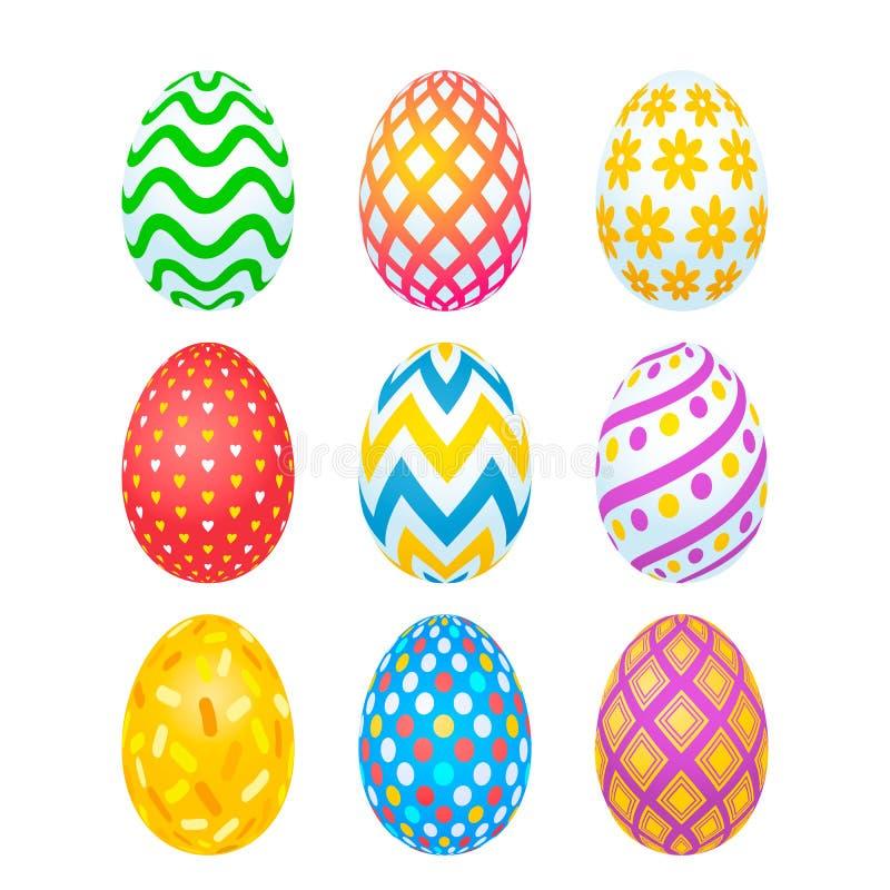 Πάσχα ευτυχές Σύνολο ρεαλιστικών αυγών Πάσχας με τη διαφορετική σύσταση και διακόσμησης σε ένα άσπρο υπόβαθρο Διακοπές άνοιξη απεικόνιση αποθεμάτων