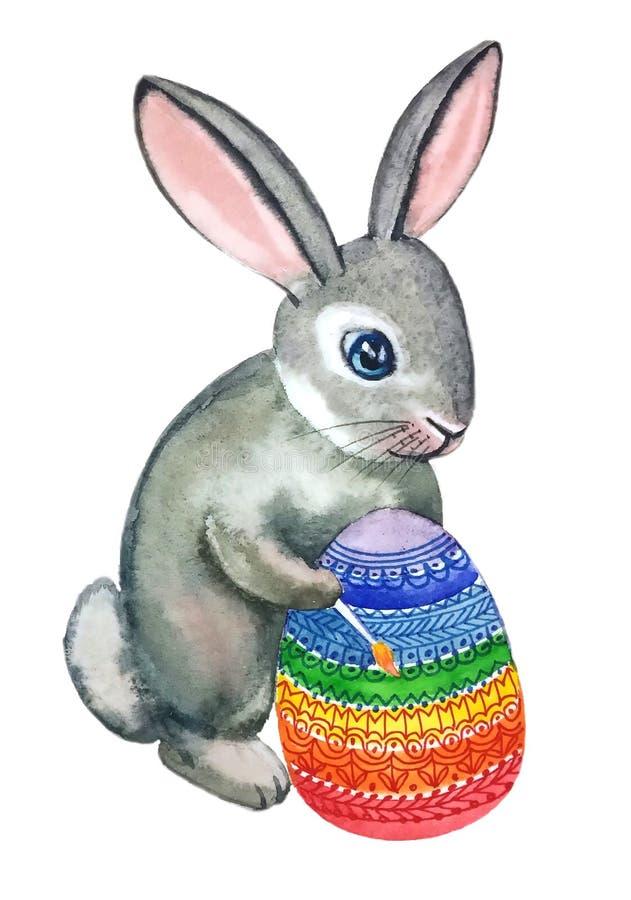 Πάσχα λίγο αυγό Πάσχας χρωμάτων βουρτσών κουνελιών διανυσματική απεικόνιση