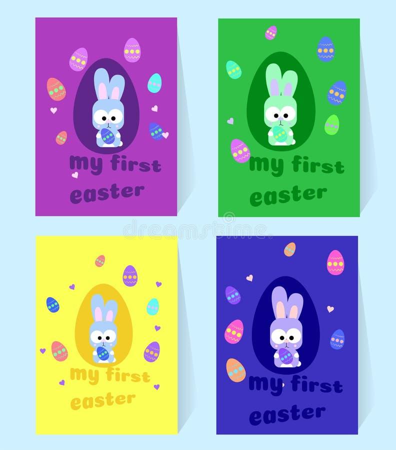 Πάσχα λίγο γκρίζο λαγουδάκι Τέσσερις κάρτες με το κουνέλι και τα ζωηρόχρωμα αυγά Το πρώτο Πάσχα μου Διανυσματική απεικόνιση για ν απεικόνιση αποθεμάτων