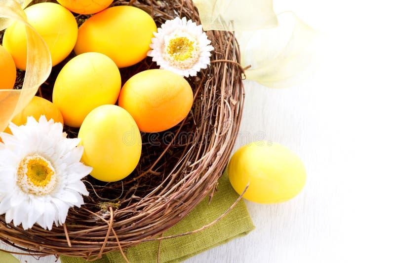 Αυγά Πάσχας και λουλούδια ανοίξεων στοκ εικόνα με δικαίωμα ελεύθερης χρήσης
