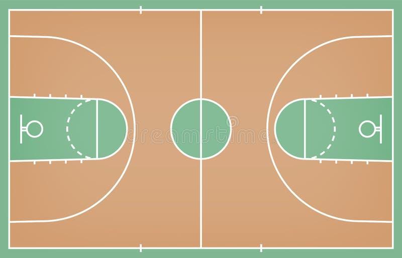 Πάτωμα γήπεδο μπάσκετ με τη γραμμή στο ξύλινο υπόβαθρο σύστασης r διανυσματική απεικόνιση