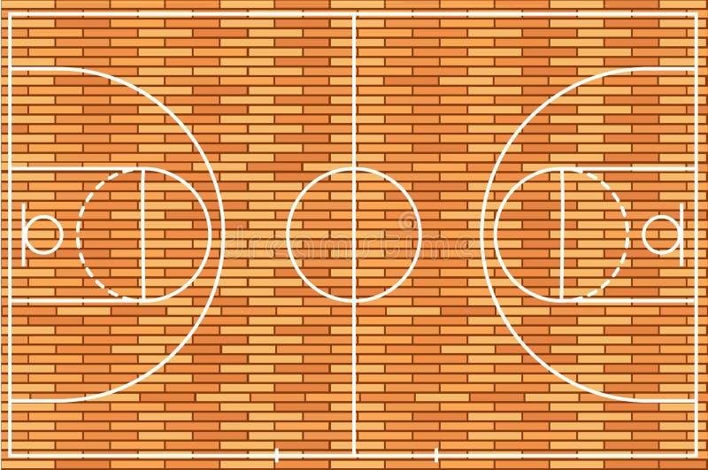 Πάτωμα γήπεδο μπάσκετ με το ξύλινο υπόβαθρο σύστασης επίσης corel σύρετε το διάνυσμα απεικόνισης απεικόνιση αποθεμάτων