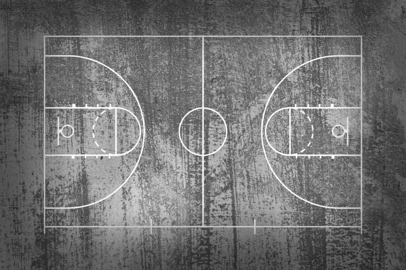 Πάτωμα γήπεδο μπάσκετ με τη γραμμή στο μαύρο υπόβαθρο grunge απεικόνιση αποθεμάτων