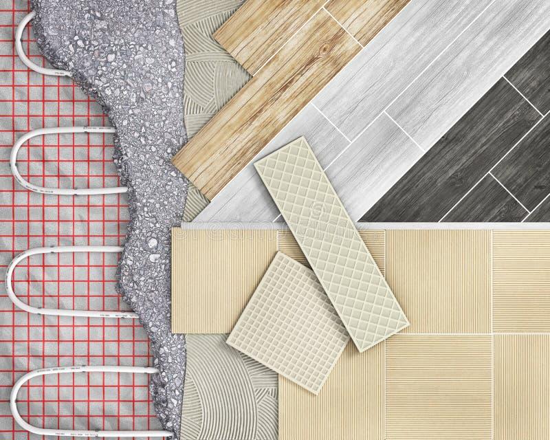 Πάτωμα κεραμιδιών με τη θέρμανση πατωμάτων ελεύθερη απεικόνιση δικαιώματος