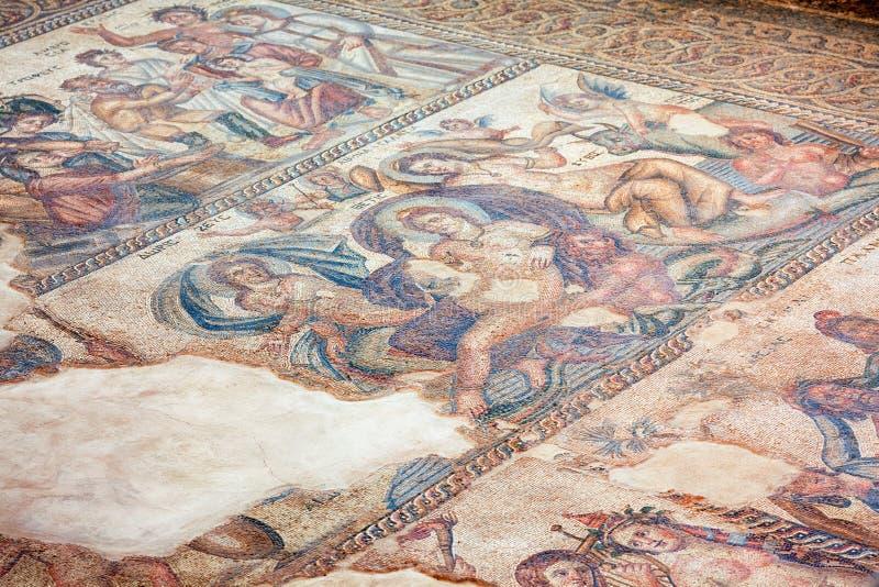 Πάτωμα μωσαϊκών από τη Βουλή Aion Kato Pafos αρχαιολογικό Π στοκ φωτογραφία