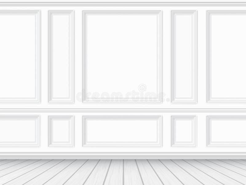 Πάτωμα παρκέ και άσπρο ξυλεπενδυμένο υπόβαθρο τοίχων απεικόνιση αποθεμάτων
