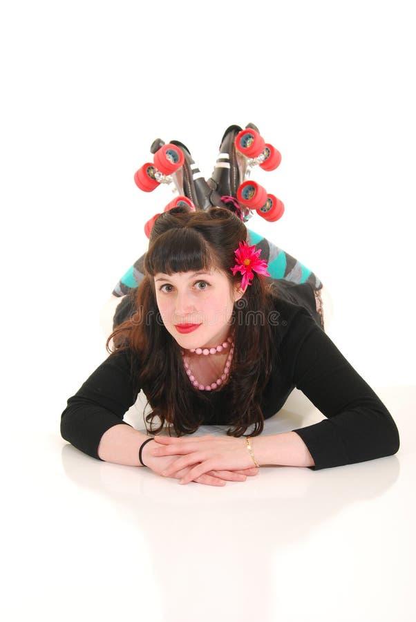 πάτωμα rollergirl στοκ φωτογραφία με δικαίωμα ελεύθερης χρήσης