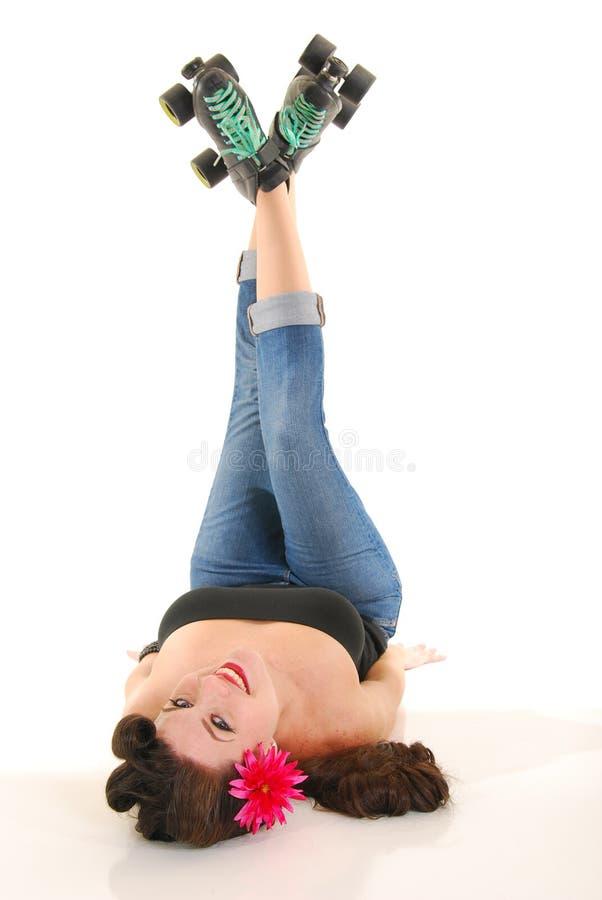 πάτωμα rollergirl στοκ εικόνες