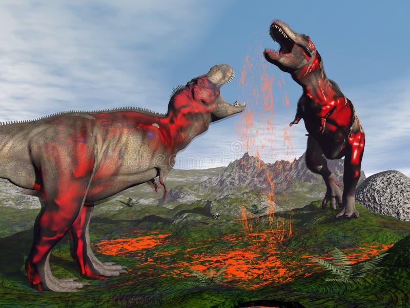 Πάλη δεινοσαύρων τυραννοσαύρων rex - τρισδιάστατη δώστε διανυσματική απεικόνιση