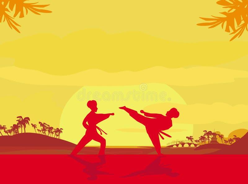 Πάλη ενός εχθρού κοντά στην παραλία όταν πηγαίνει κάτω ο ήλιος διανυσματική απεικόνιση