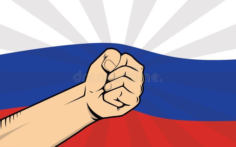 Πάλη διαμαρτυρίας της Ρωσίας ενάντια σε μια κυβερνητική απεικόνιση με τη σημαία ως υπόβαθρο και χέρι διανυσματική απεικόνιση