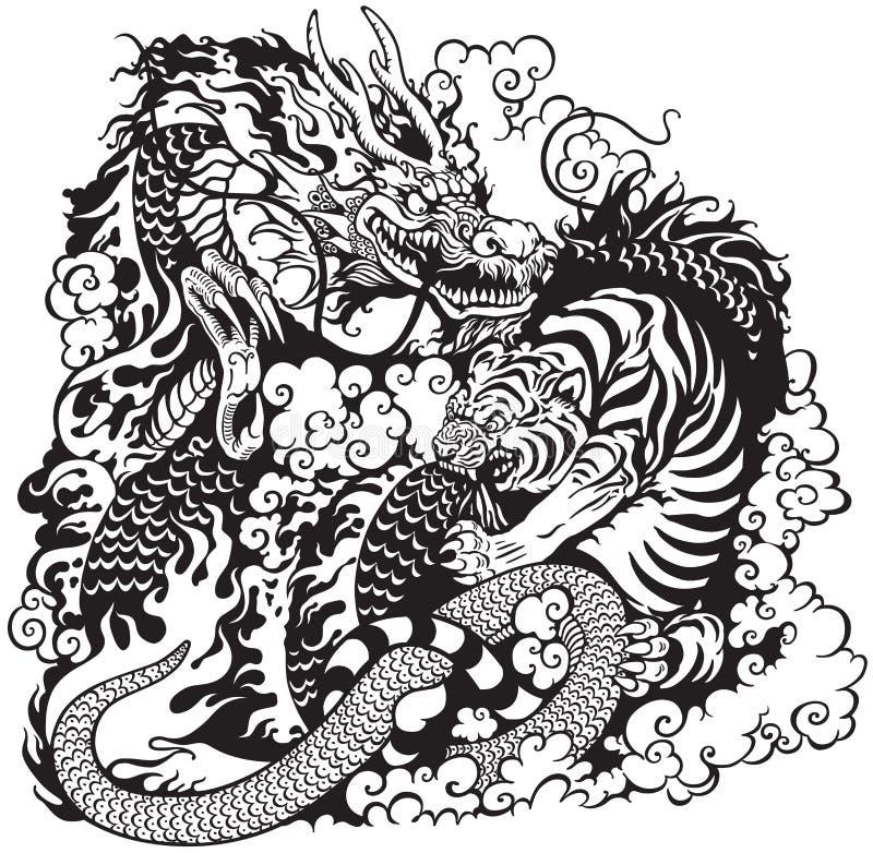 Πάλη δράκων και τιγρών διανυσματική απεικόνιση
