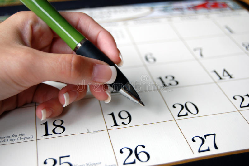 Πέννα και ημερολόγιο στοκ εικόνα με δικαίωμα ελεύθερης χρήσης