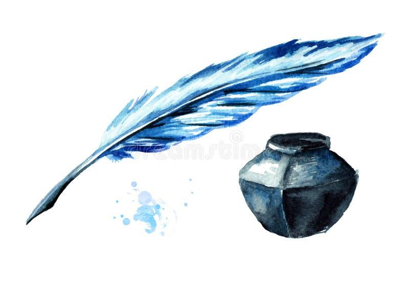 Πέννα πηγών και inkwell Συρμένη χέρι απεικόνιση Watercolor που απομονώνεται στο άσπρο υπόβαθρο απεικόνιση αποθεμάτων