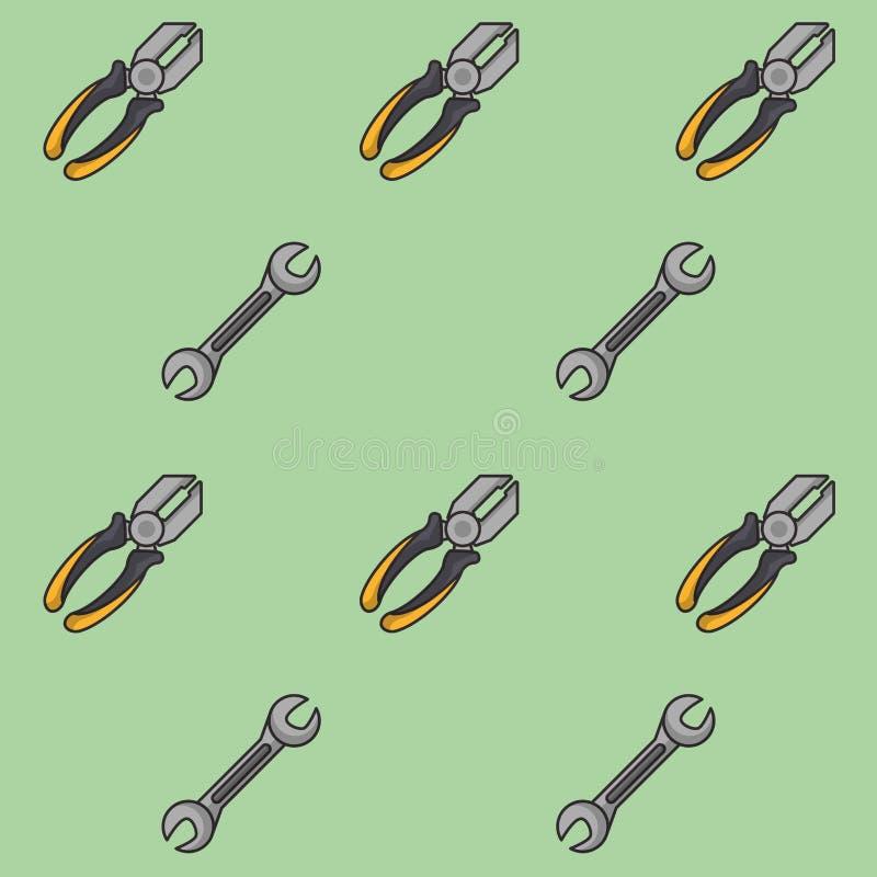 Πένσες και υπόβαθρο σχεδίων γαλλικών κλειδιών ελεύθερη απεικόνιση δικαιώματος