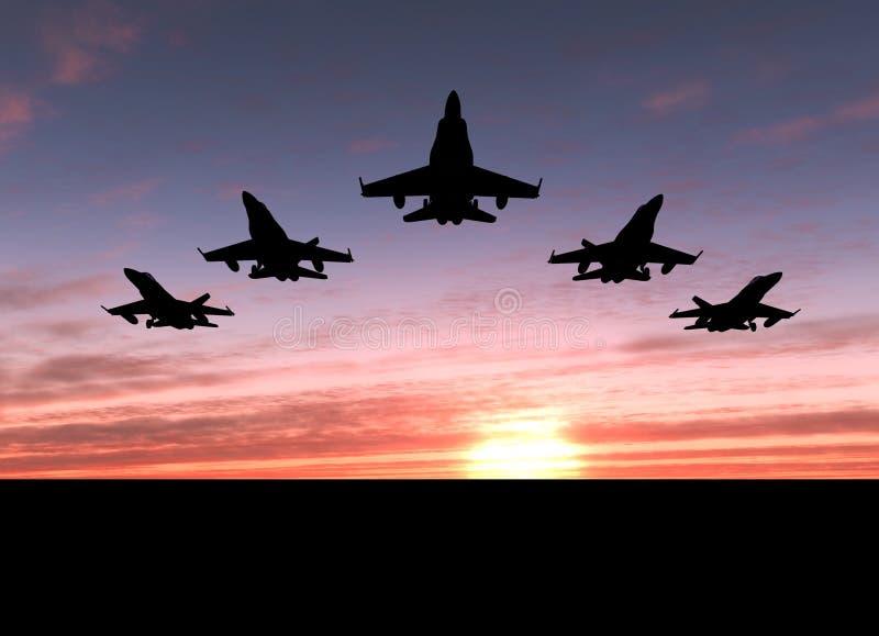 πέντε αεριωθούμενα αερο στοκ φωτογραφία με δικαίωμα ελεύθερης χρήσης