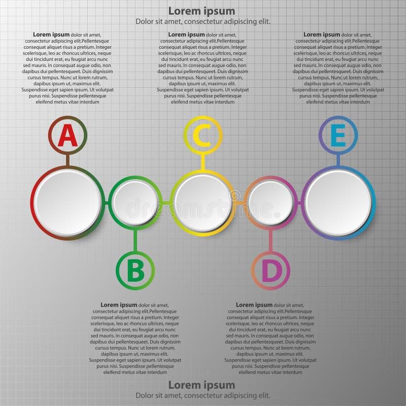 Πέντε απλοί τρισδιάστατοι κύκλοι εγγράφου στη ζωηρόχρωμη χρονική γραμμή για την παρουσίαση ιστοχώρου καλύπτουν τη infographic απε διανυσματική απεικόνιση