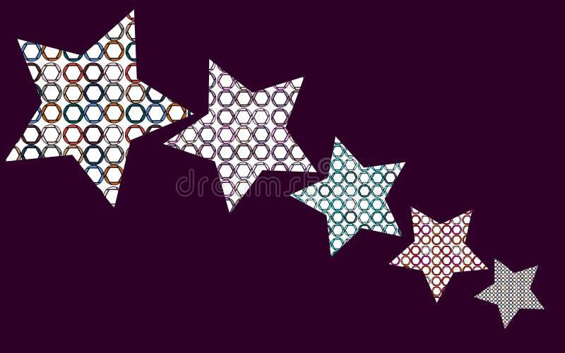 Πέντε αστέρια με ένα σχέδιο των πολύχρωμων κύκλων, διαφράγματα μέσα ελεύθερη απεικόνιση δικαιώματος