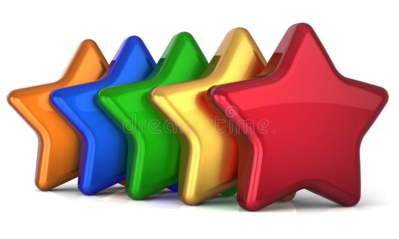 Πέντε αστέρων 5 αστέρια διαμορφώνουν τη διακόσμηση επιτυχίας υπηρεσιών ελεύθερη απεικόνιση δικαιώματος