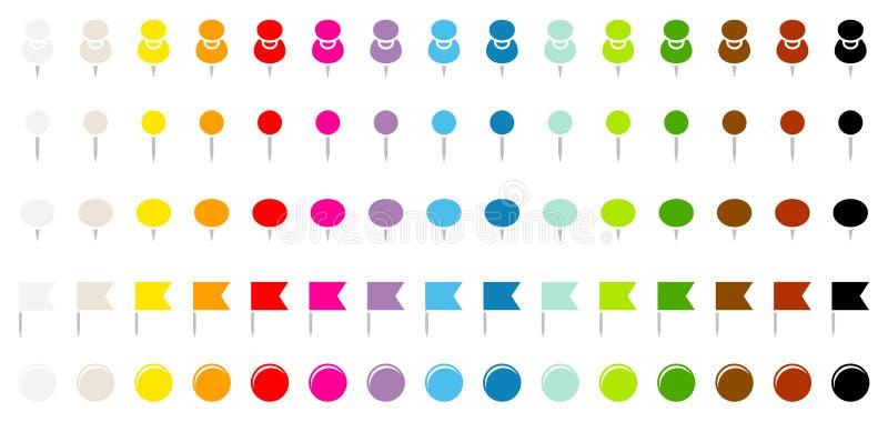 Πέντε διαφορετικοί ευθείς γραφικοί σημαίες και μαγνήτες βελόνων καρφιτσών δεκαπέντε χρώματα απεικόνιση αποθεμάτων