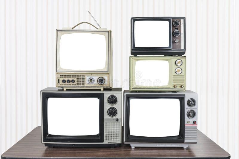 Πέντε εκλεκτής ποιότητας τηλεοράσεις με τις αποκόπτως οθόνες στοκ φωτογραφία