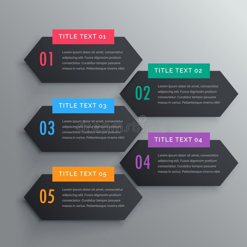 Πέντε εμβλήματα βημάτων infographics στο σκοτεινό θέμα απεικόνιση αποθεμάτων