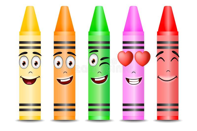 Πέντε διαφορετικές μασκότ κραγιονιών χρώματος με τις διαφορετικές εκφράσεις του προσώπου ελεύθερη απεικόνιση δικαιώματος