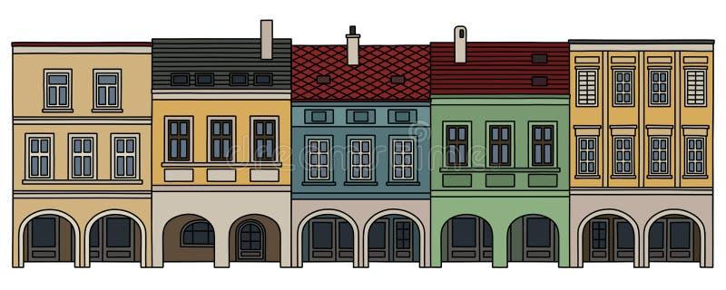 Πέντε ιστορικά burger σπίτια απεικόνιση αποθεμάτων