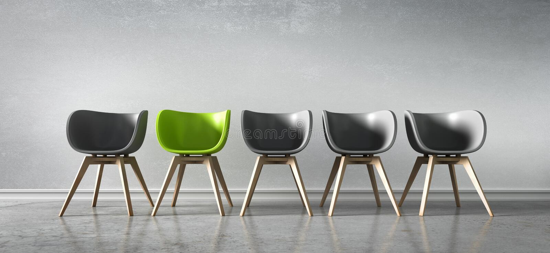 Πέντε καρέκλες σε μια σειρά - συζήτηση έννοιας απεικόνιση αποθεμάτων