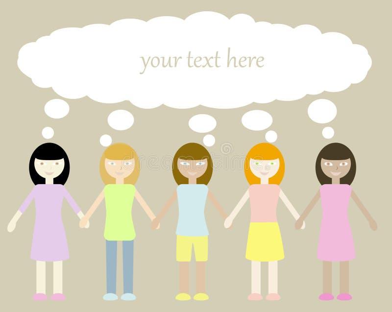 Πέντε κορίτσια διανυσματική απεικόνιση