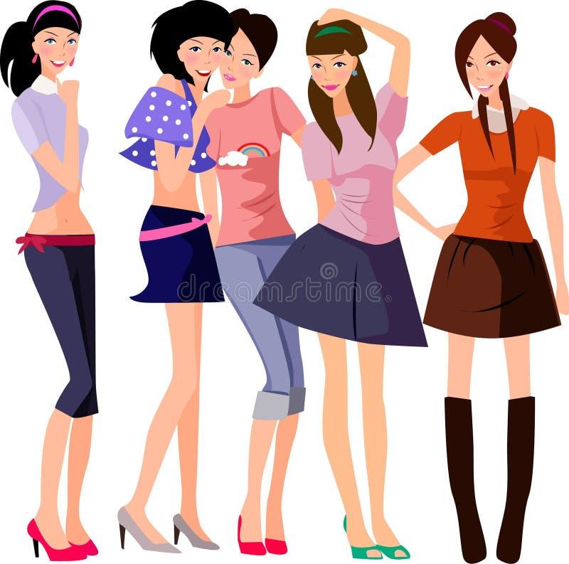πέντε κορίτσια ελεύθερη απεικόνιση δικαιώματος