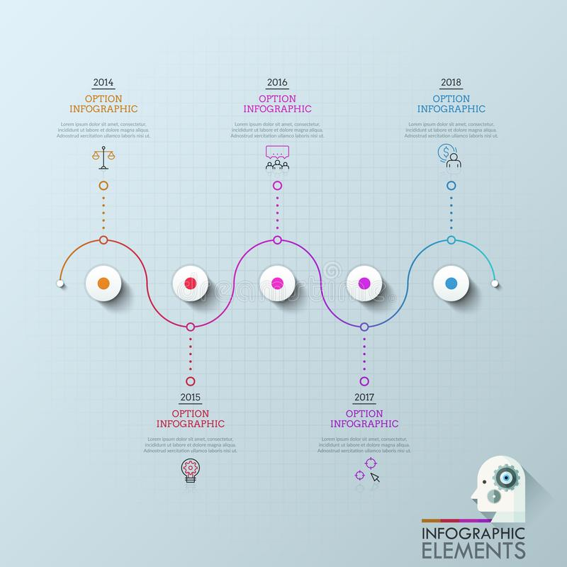 Πέντε κύκλοι που οργανώνονται γραμμή και που συνδέονται στην οριζόντια με τα εικονίδια, τα παράθυρα κειμένου και την ένδειξη έτου απεικόνιση αποθεμάτων