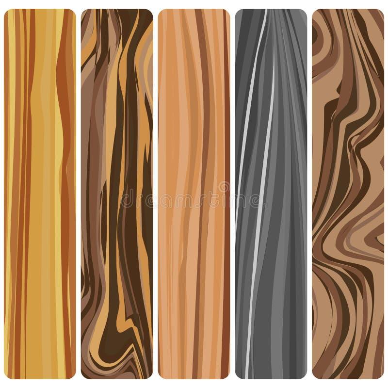 Πέντε ξύλινοι πίνακες διανυσματική απεικόνιση