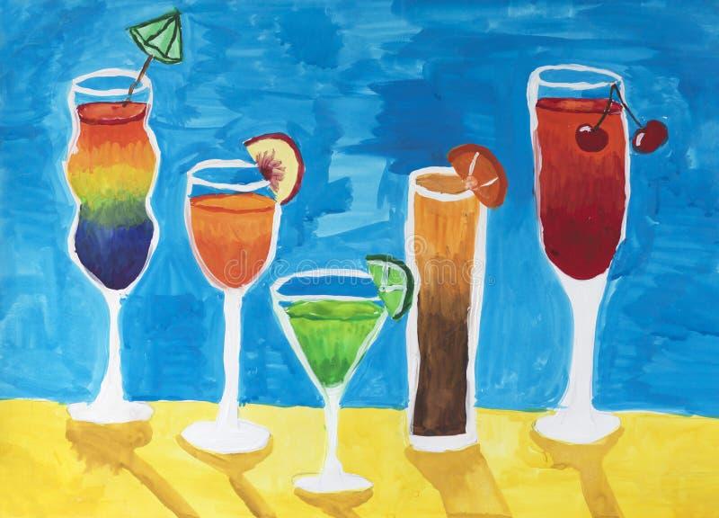 Πέντε ποτήρια του κρασιού και των κοκτέιλ στοκ εικόνες