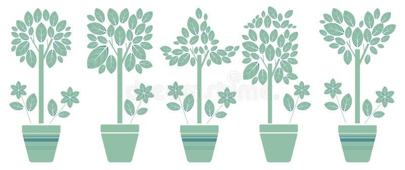 Πέντε σύνολο με τα δέντρα eco στο δοχείο απεικόνιση αποθεμάτων