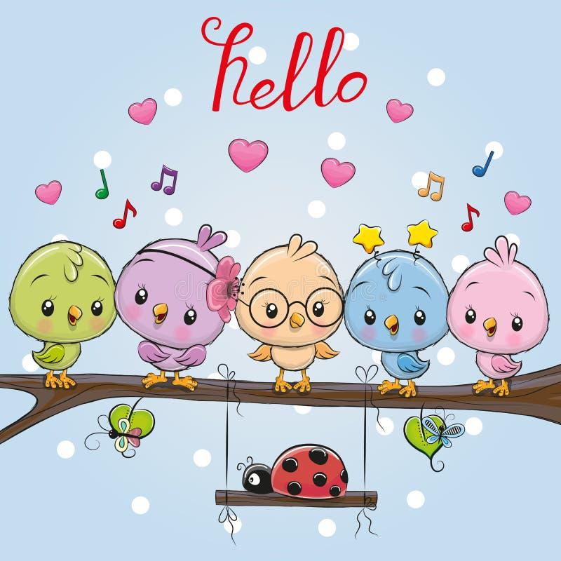 Πέντε χαριτωμένα πουλιά και ladybug ελεύθερη απεικόνιση δικαιώματος