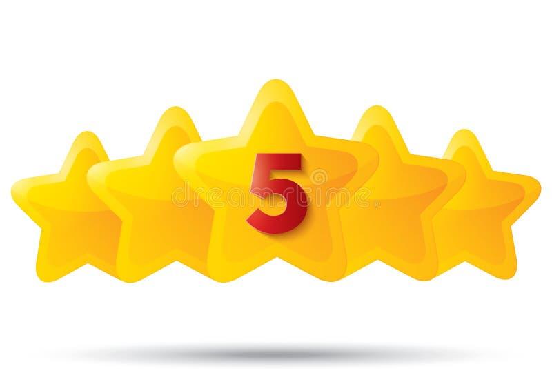 Πέντε χρυσά αστέρια με το ψηφίο. Εικονίδια αστεριών στο λευκό. διανυσματική απεικόνιση