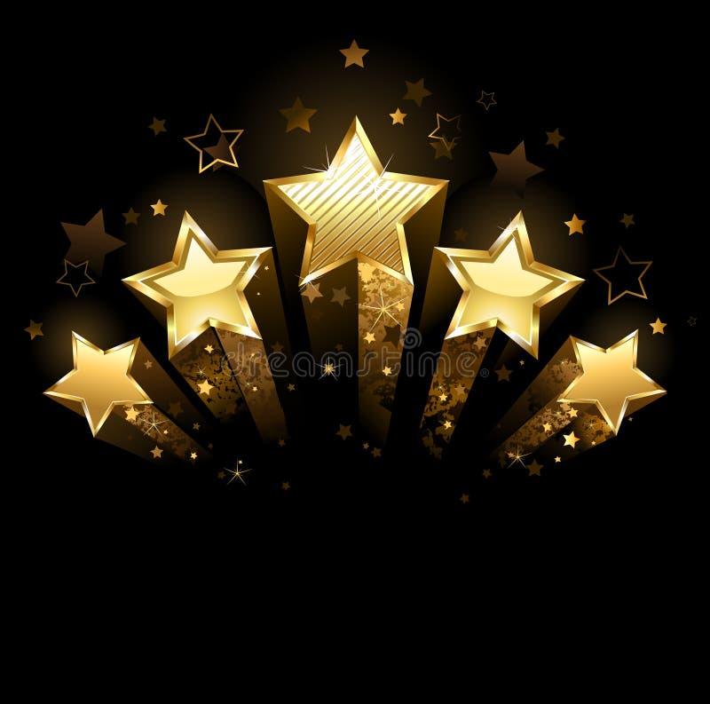 Πέντε χρυσά αστέρια διανυσματική απεικόνιση